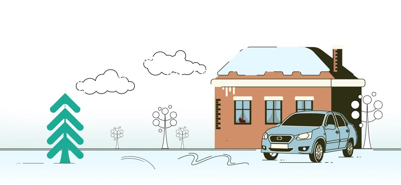 Автомобиль Datsun нафоне дома