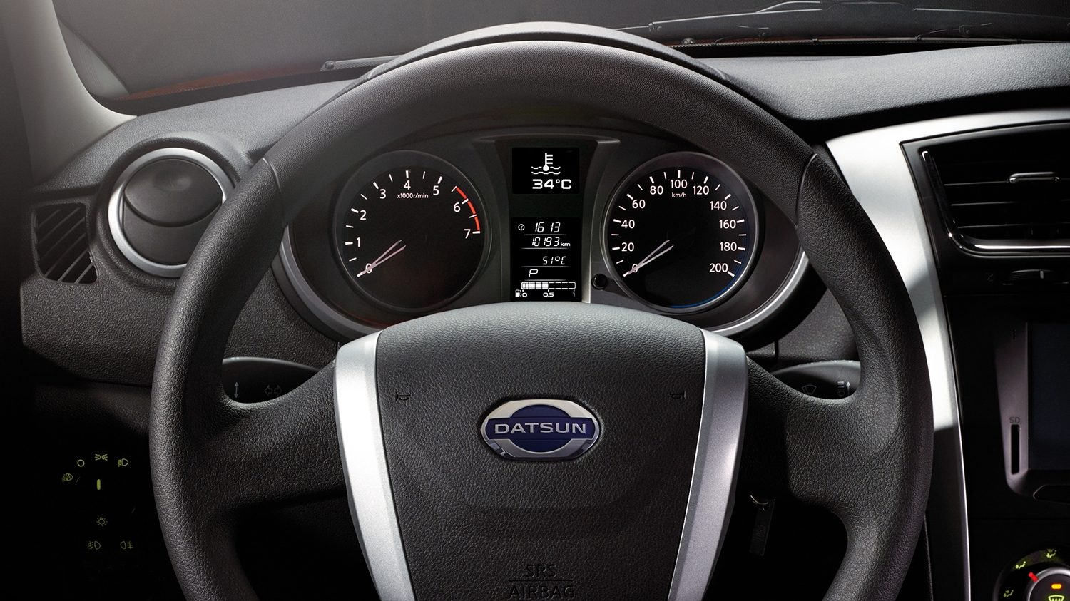 Interior Shot of Steering Wheel and Dash