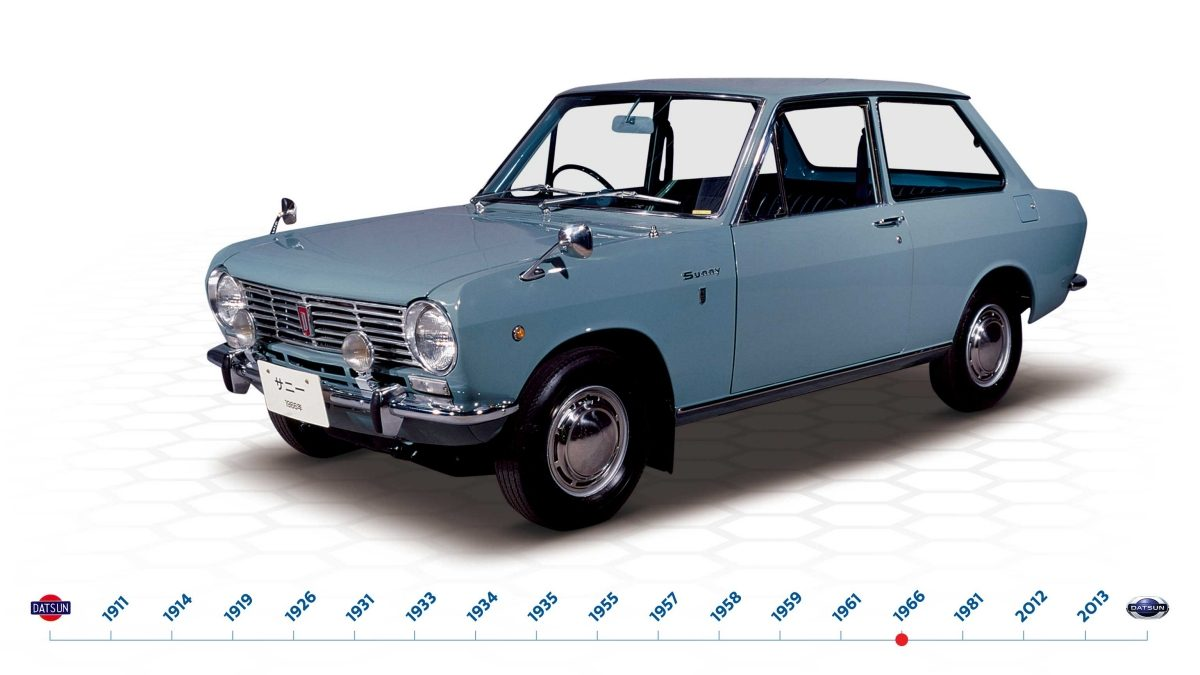 The Datsun Sunny B10 launches in 1966
