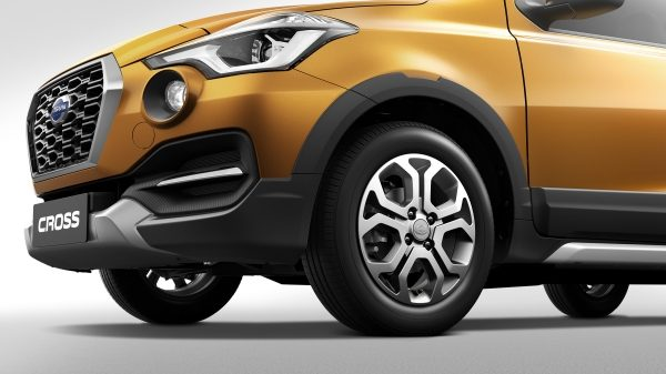 Datsun Cross front of vehicle showcasing high ground clearance