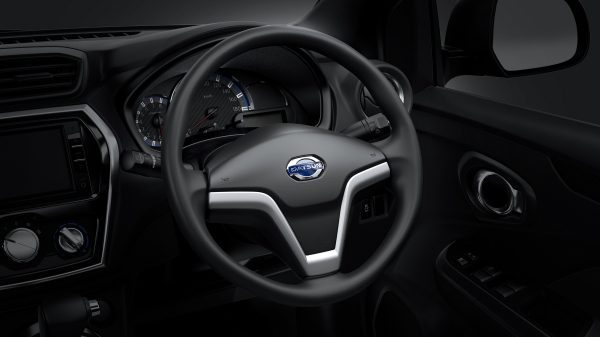 Datsun Cross steering wheel shown from inside the cabin