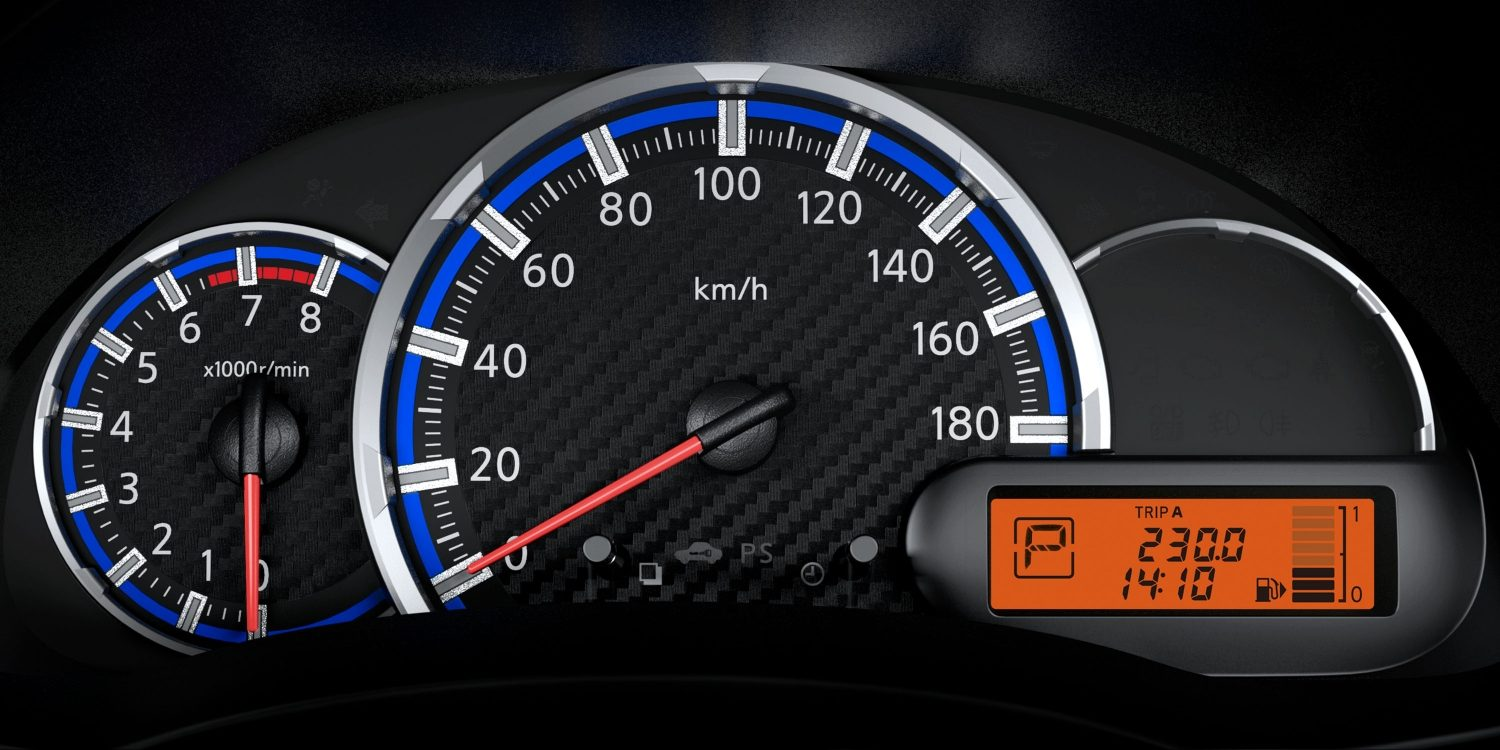Closeup of speedometer