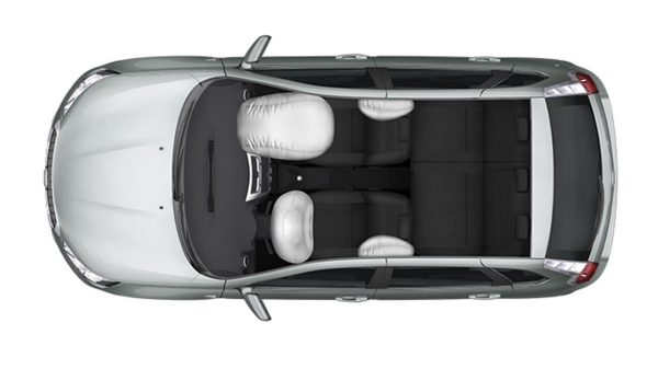 Overhead Shot with Front and Side Airbags Deployed