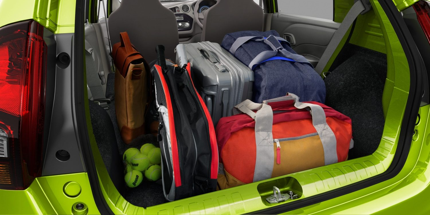 Datsun redi-GO interior boot space filled with luggage and sports equipment