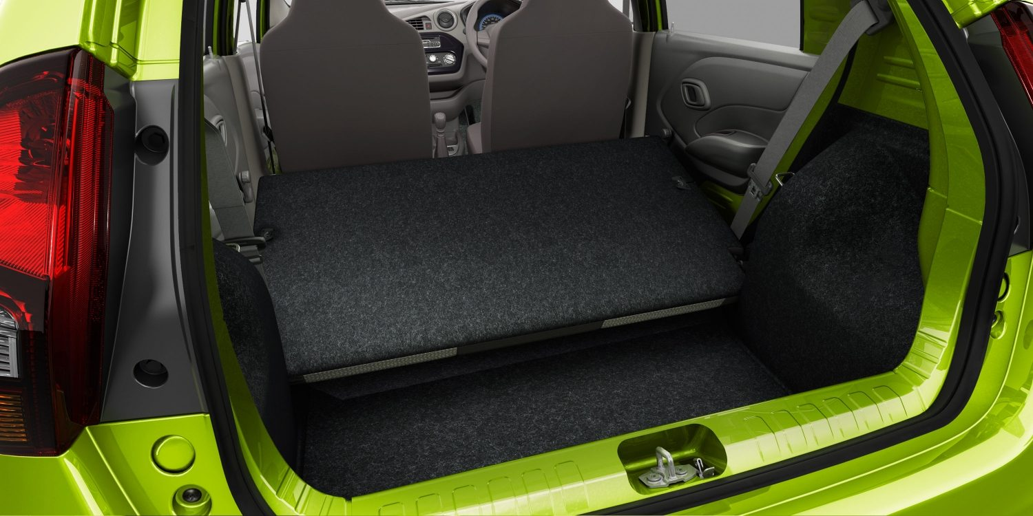 Datsun redi-GO interior boot space empty, rear seats folded down